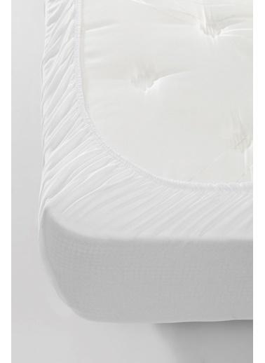 Eponj Home Lastikli Çarşaf Düz Renk Pamuklu Penye Tek Kişilik Beyaz